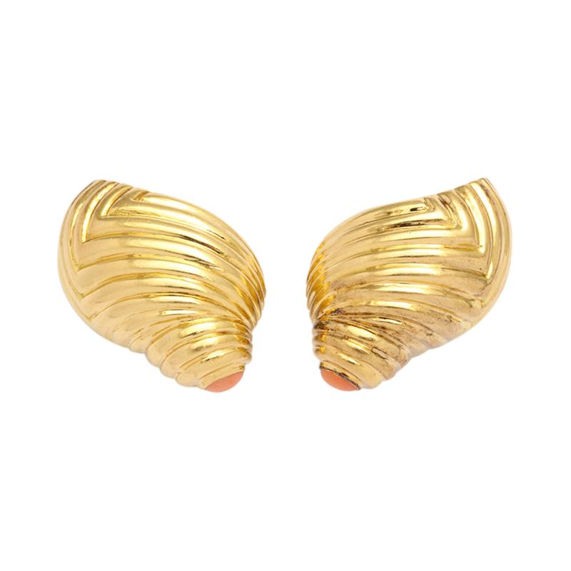 Boucheron 18k Gold Coral Shell Earclips by Boucheron