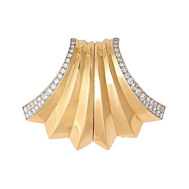 Boucheron BOUCHERON Retro Diamond Gold Double Clip Pin