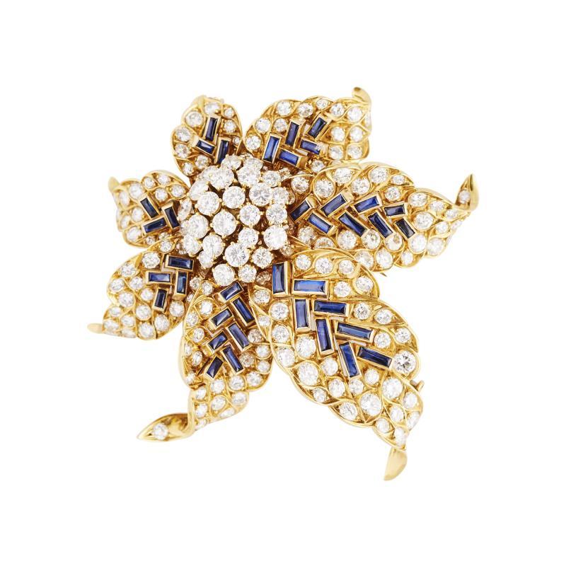 Boucheron Boucheron Diamond and Sapphire Gold Flower Brooch