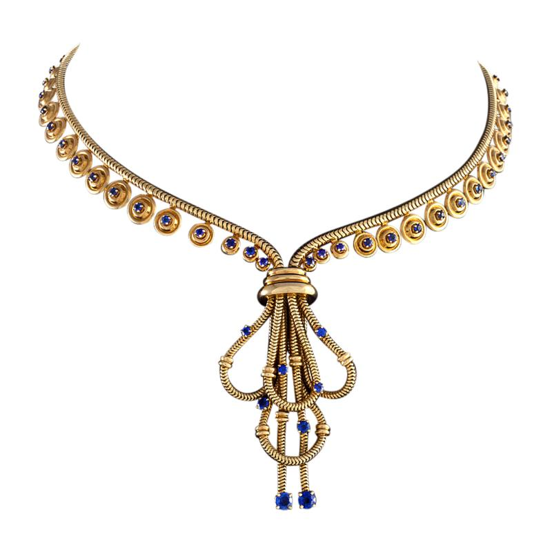 Boucheron Boucheron Paris Retro Sapphire and Gold Necklace