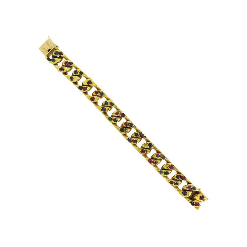 Boucheron Boucheron Ruby Emerald and Sapphire Gold Link Bracelet
