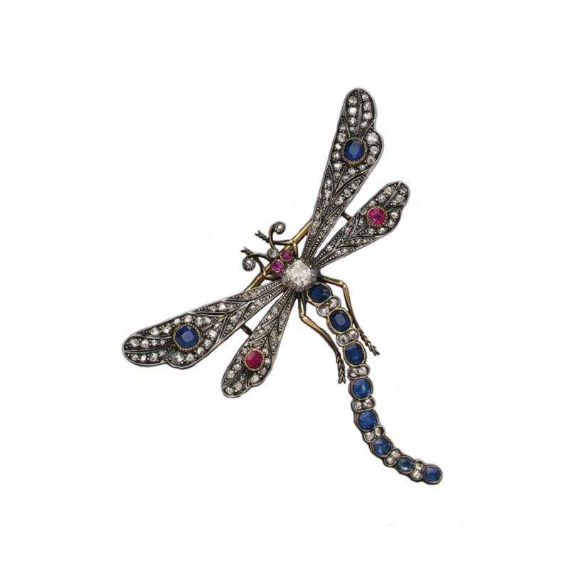 Boucheron Victorian Era Large Diamond Ruby Sapphire Dragonfly Attributed to Bucheron