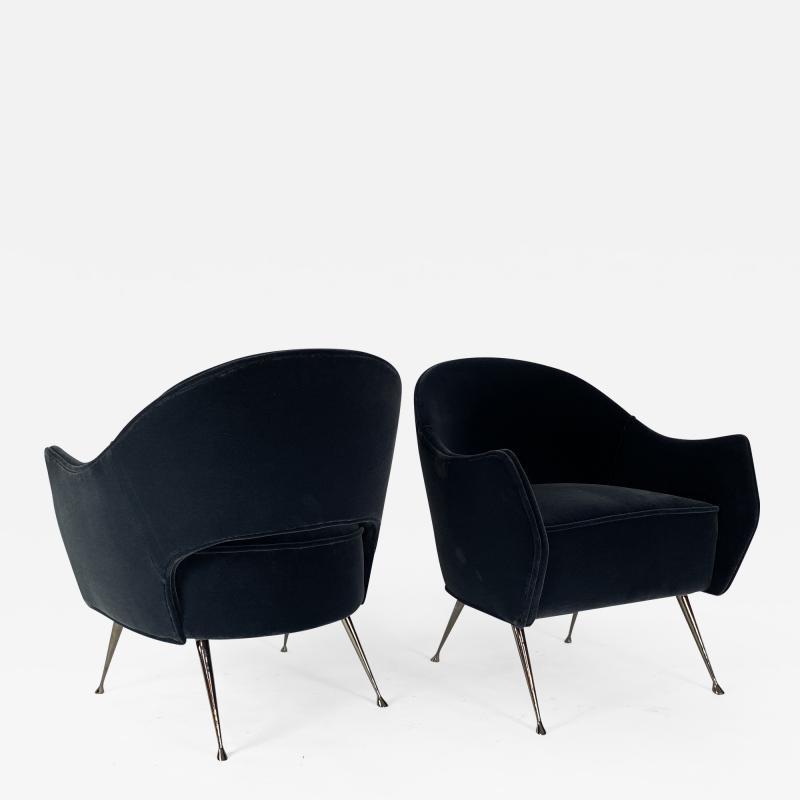Bourgeois Boheme Atelier Pair of Briance Chairs Black Nickel Legs