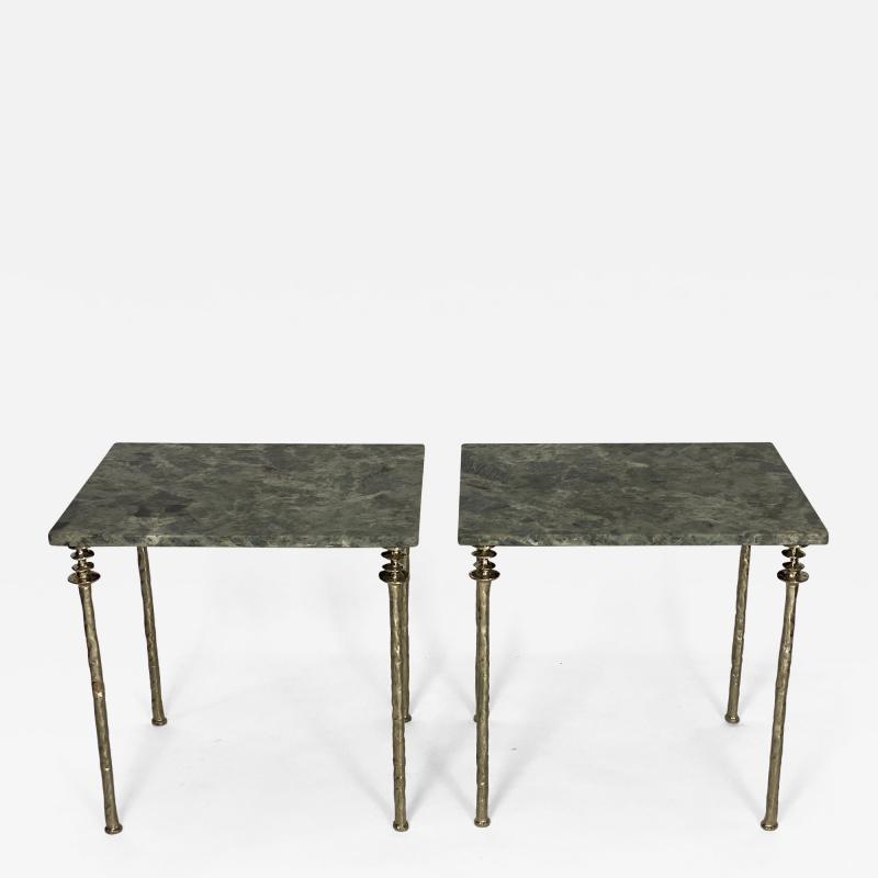 Bourgeois Boheme Atelier Pair of Sorgue Side Table White Bronze legs