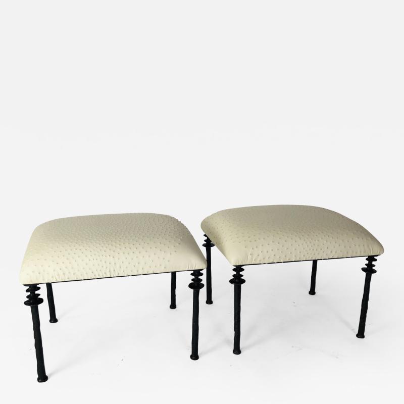 Bourgeois Boheme Atelier Pair of Sorgue Stools By Bourgeois Boheme Atelier Tan Ostrich Leather