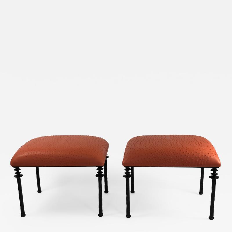 Bourgeois Boheme Atelier Pair of Sorgue Stools Tangerine Ostrich Leather