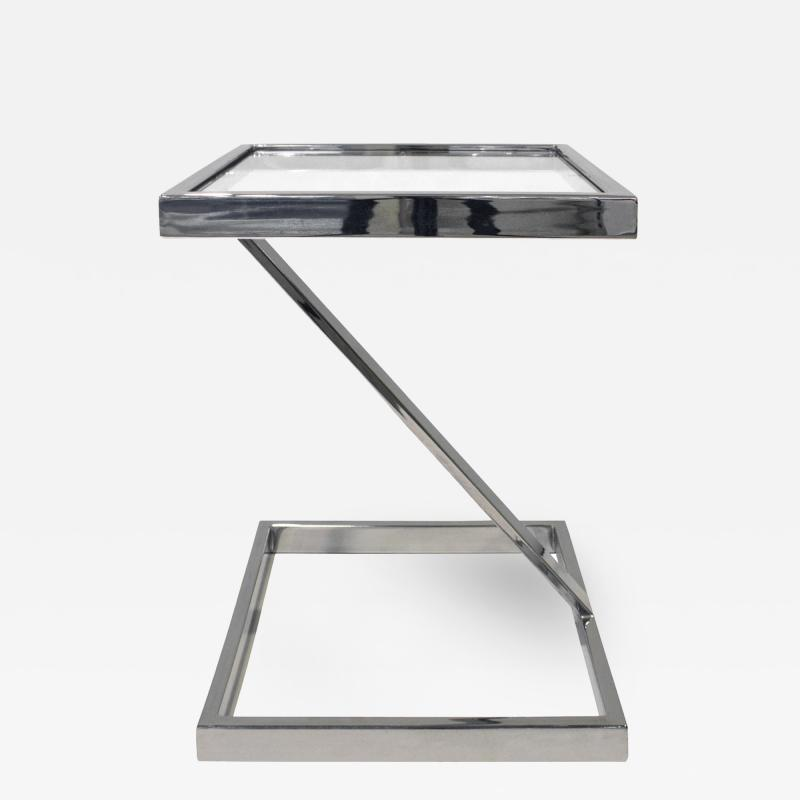 Brueton Brueton Cantilevered Side Table in Chrome and Glass 1970s