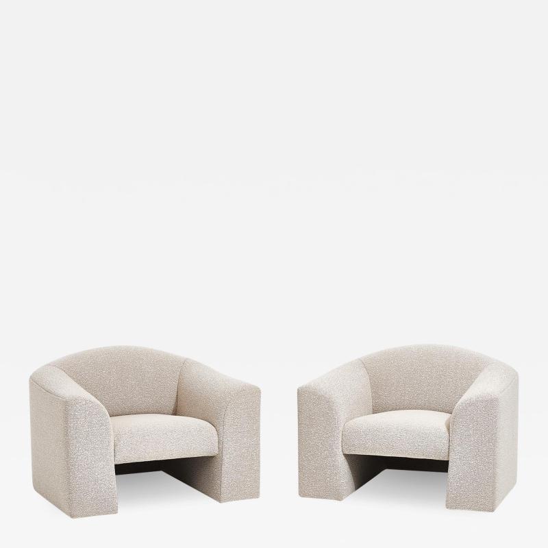 Brueton Brueton Lounge Chairs in White Boucle circa 1980
