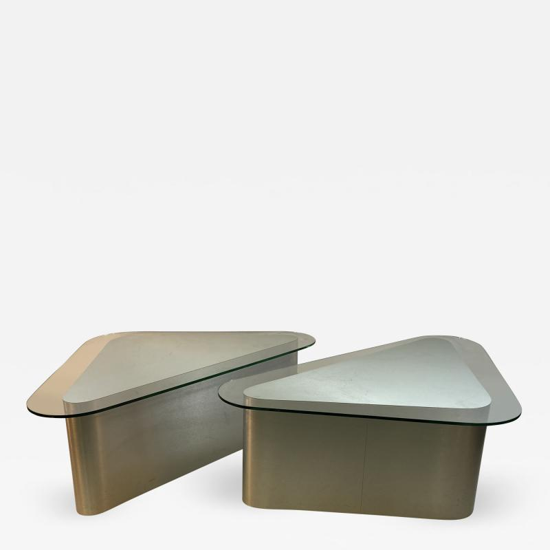 Brueton MODERN ALUMINUM TRIANGULAR END TABLES