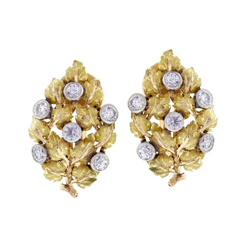 Buccellati Mario Buccellati Diamond Leaf Earrings