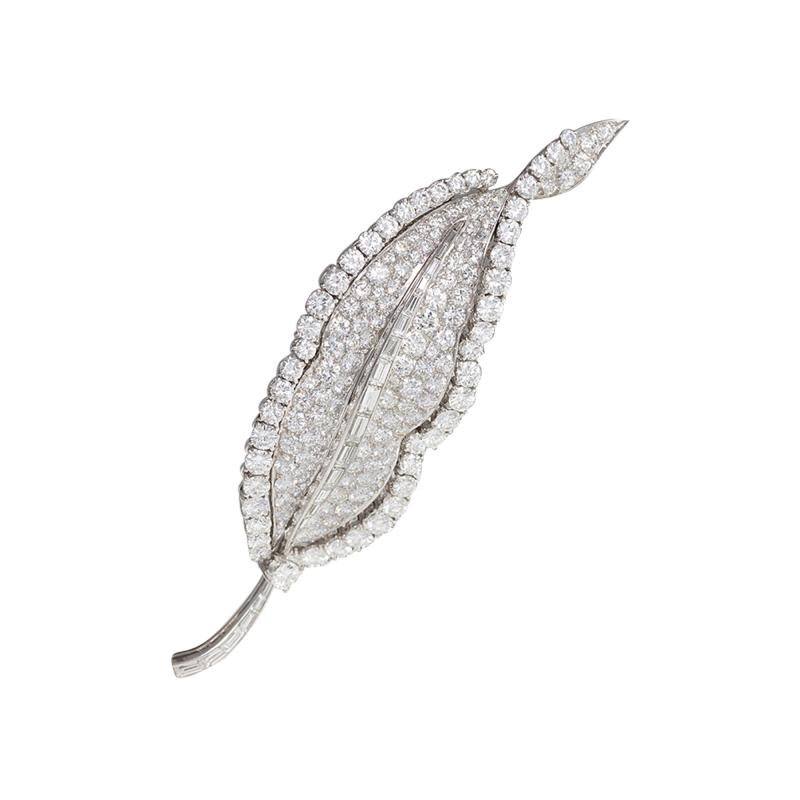 Bulgari Bulgari Mid 20th Century Diamond and Platinum Leaf Brooch