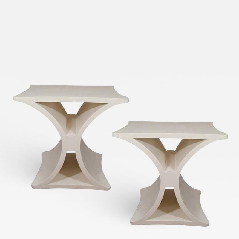 Burden A Pair of Contemporary X Form End Tables in the manner of Jean Michel Frank