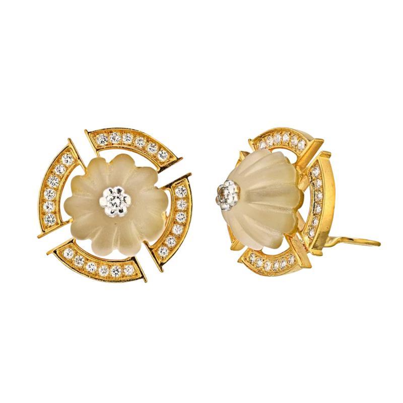 Bvlgari Bulgari BVLGARI 18K YELLOW GOLD ROCK CRYSTAL LARGE CLIP ON DIAMOND EARRINGS
