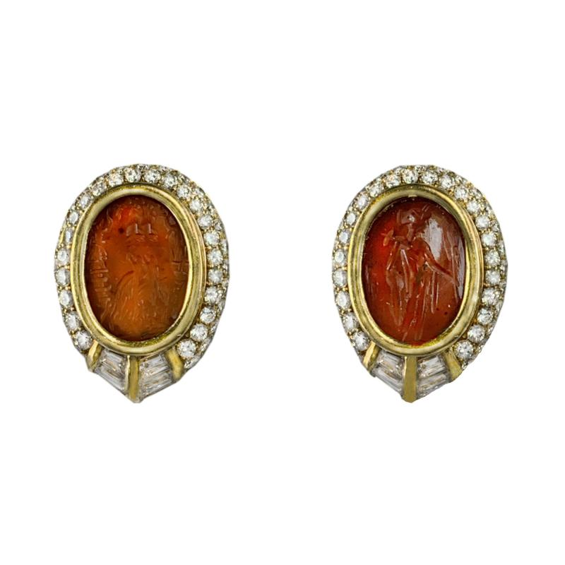 Bvlgari Bulgari Bulgari Ancient Carnilian Intaglio Earrings