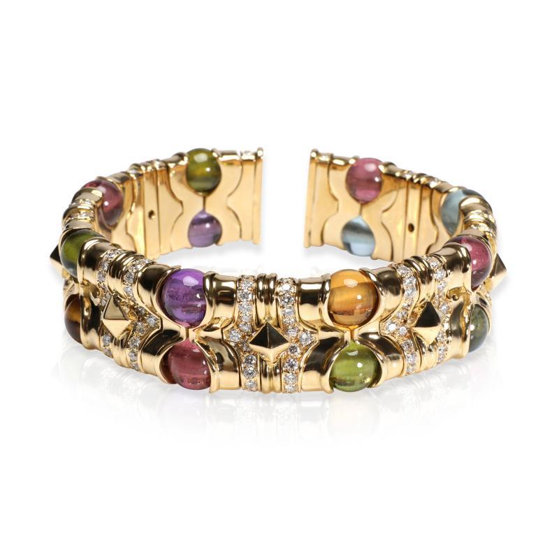 Bvlgari Bulgari Bulgari Diamond Multi Gemstone Beads Cuff Bracelet in 18K Yellow Gold 3 74 CTW
