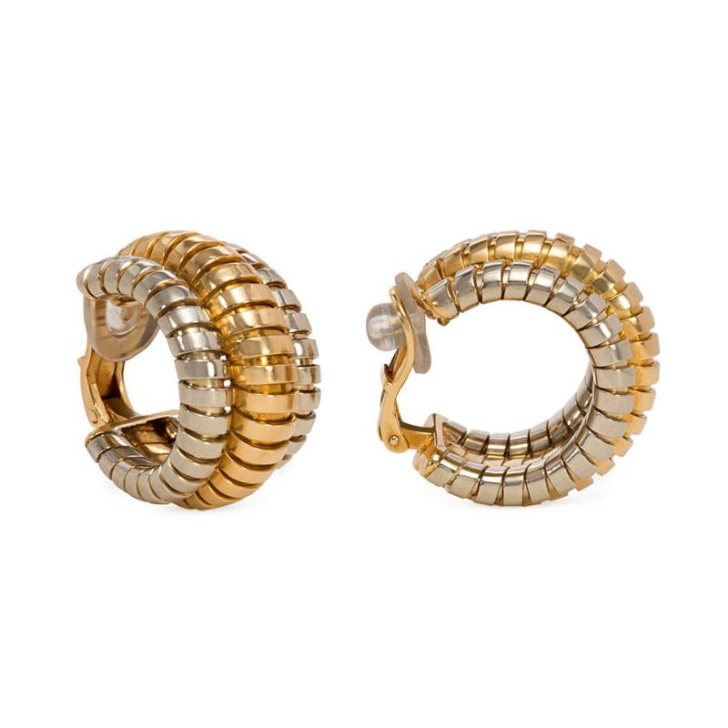 Bvlgari Bulgari Bulgari Estate White and Yellow Gold Tubogas Hoop Earrings