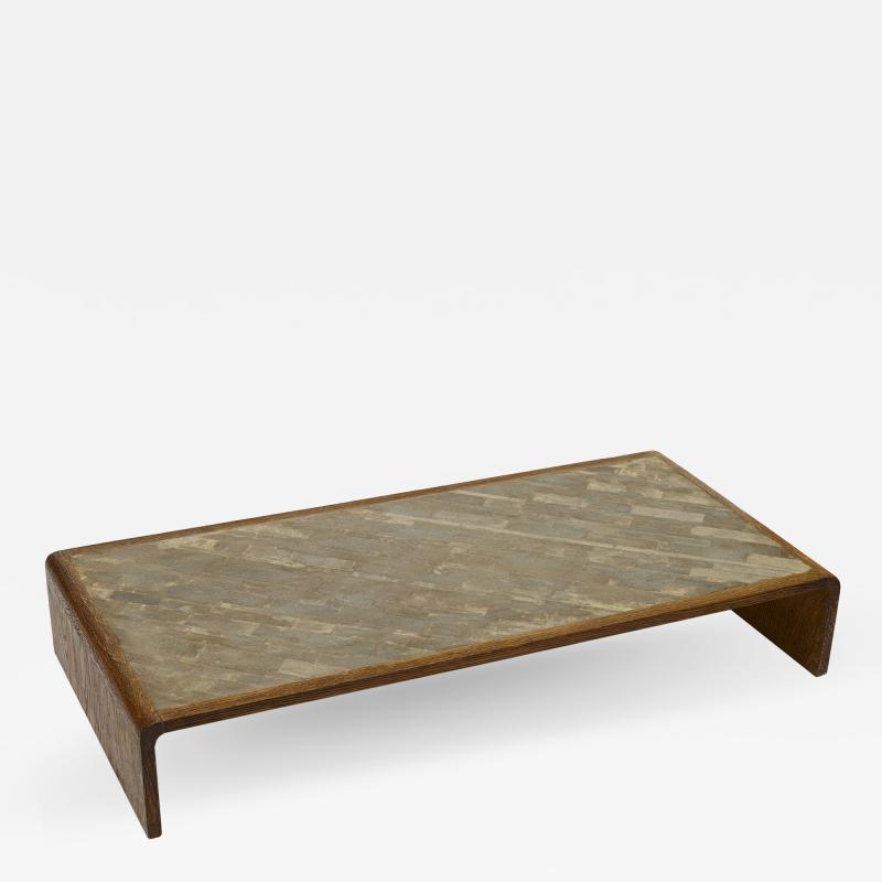 COMTE Coffee Table in Sanded Oak with Shagreen Tile Top by Jean Michel Frank