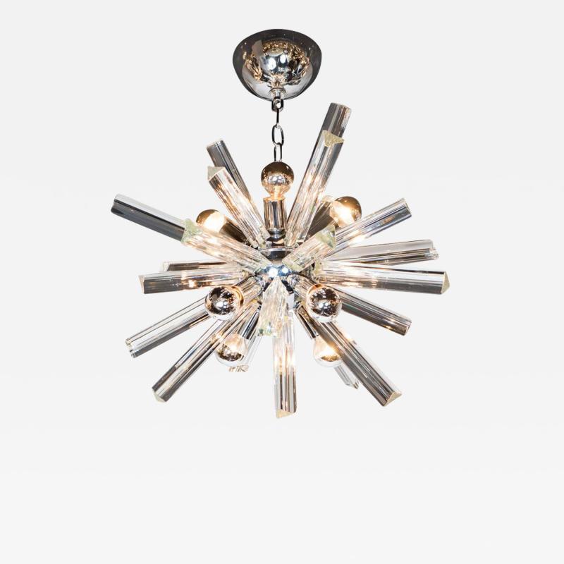 Camer Glass Mid Century Modern Sputnik Chrome Chandelier with Murano Triedre Rods by Camer