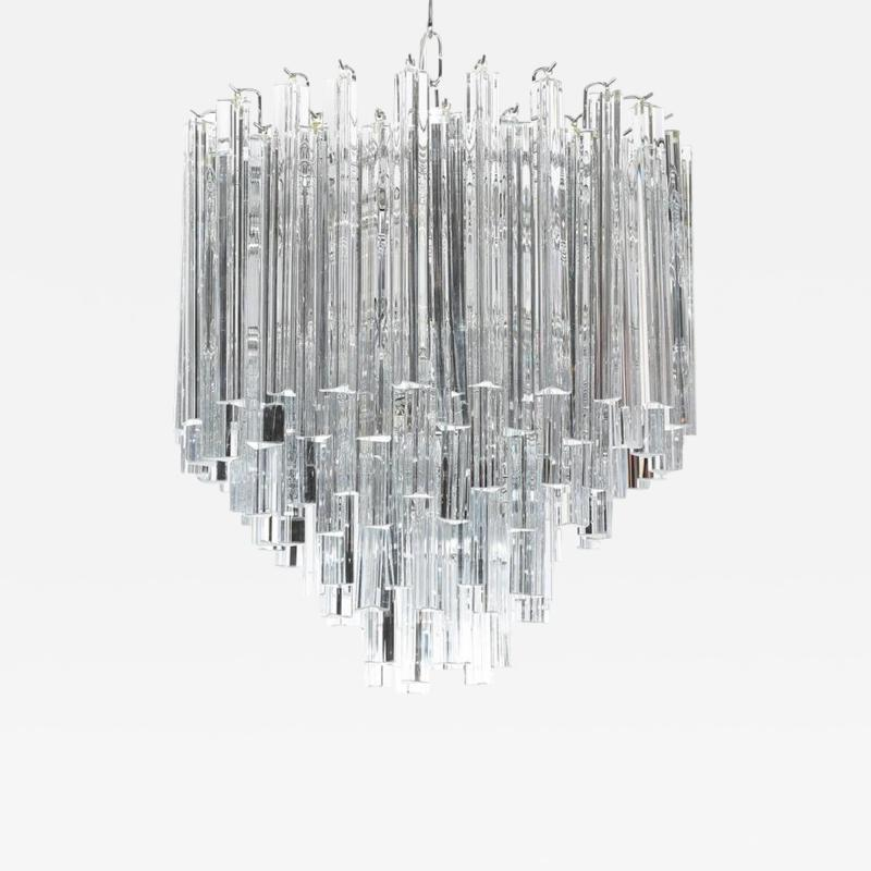 Camer Glass Tiered Italian Crystal Chandelier by Camer circa 1970s