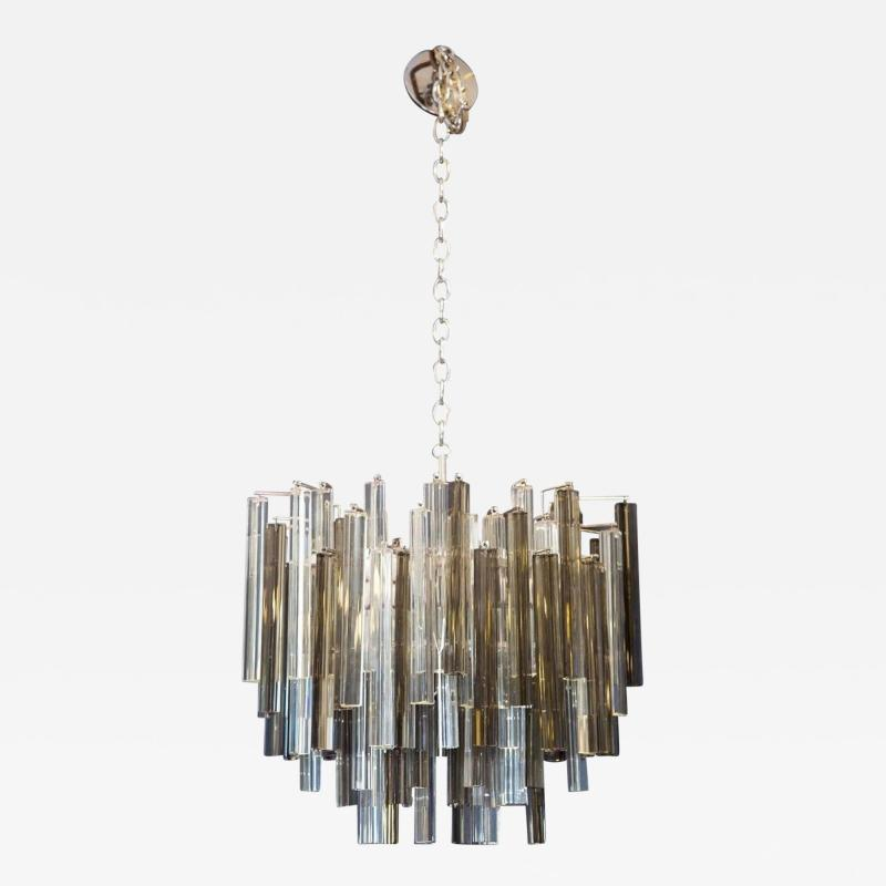 Camer Glass Two Color Smoke and Clear Murano Chandelier by Camer