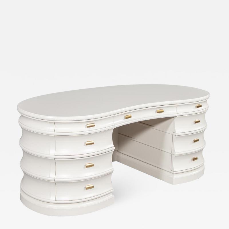 Carrocel Interiors Custom Curved Modern Cream Executive Desk