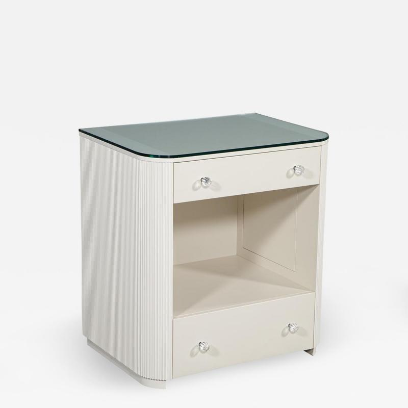 Carrocel Interiors Custom Fluted Cream Bedside Nightstand Table