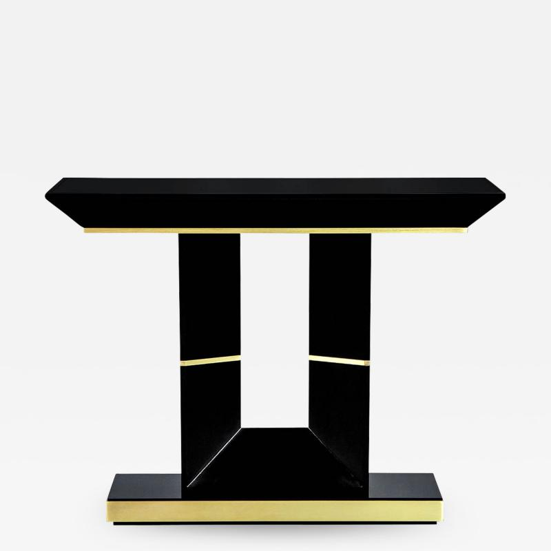 Carrocel Interiors Custom Modern Black Lacquered Console Table by Carrocel