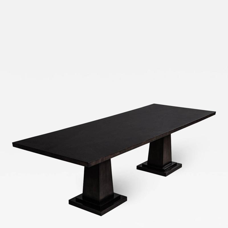 Carrocel Interiors Custom Modern Charcoal Dining Table with Diamond Pattern Inlay