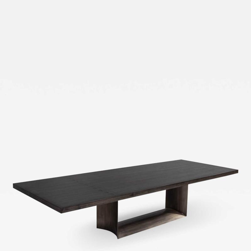 Carrocel Interiors Custom Modern Dining Table with Metal Base
