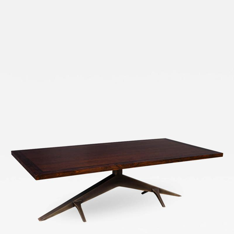 Carrocel Interiors Modern Dining Table with Unique Metal Base Mozambique Circassia Banded