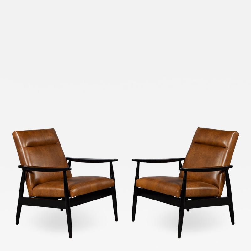 Carrocel Interiors Pair of Custom Mid Century Modern Style Leather Accent Chairs