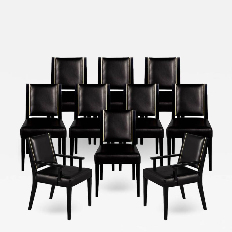 Carrocel Interiors Set of 10 Custom Modern Black Leather Dining Chairs with Brass Detailing