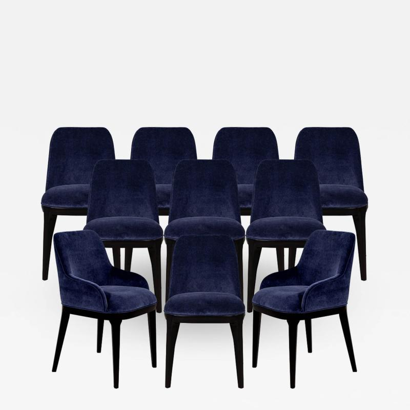 Carrocel Interiors Set of 10 Custom Navy Velvet Modern Dining Chairs