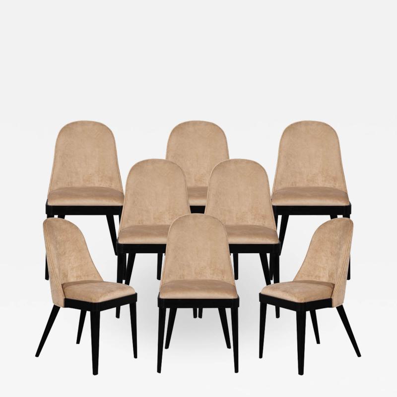 Carrocel Interiors Set of 8 Custom Modern Dining Chairs in Tan Velvet by Carrocel