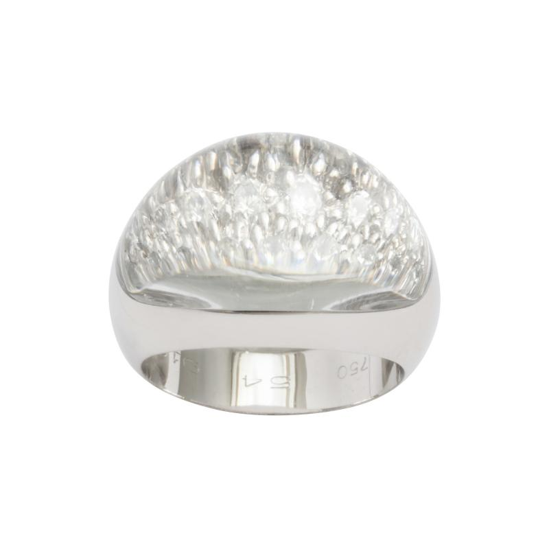 Cartier 18K White Gold Rock Crystal and Diamond Ring by Cartier Paris