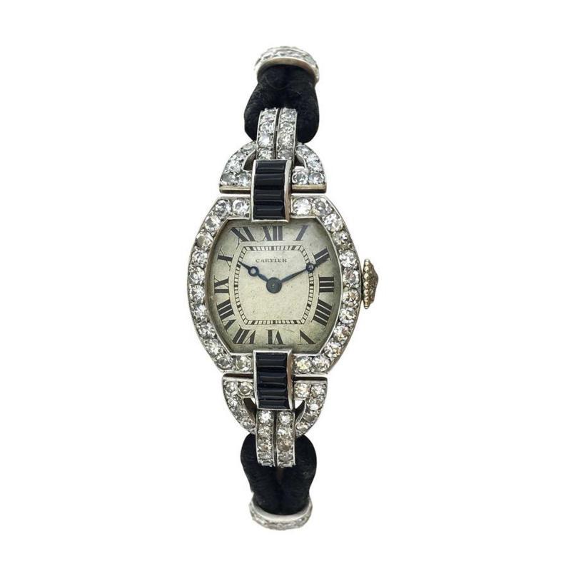 Cartier 1920s Cartier Paris Art Deco Diamond Onyx Wristwatch