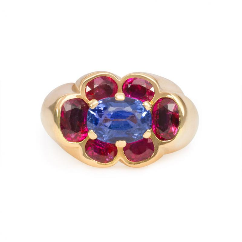 Cartier 1940s Cartier Paris Gold Ruby and Sapphire Cluster Ring
