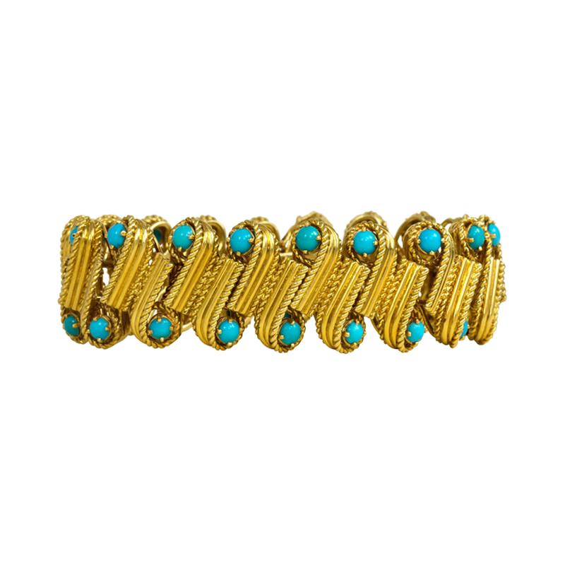 Cartier 1950s Cartier Gold and Turquoise Bracelet