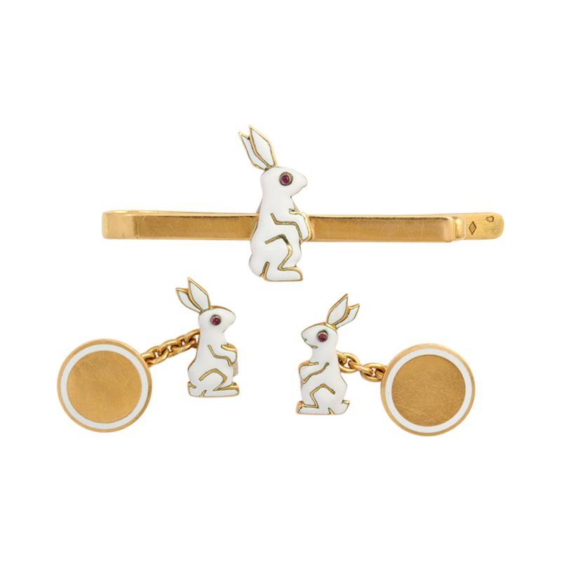Cartier Bunny Cufflink Tie Pin Set by Cartier Paris