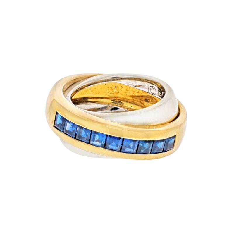 Cartier CARTIER 18K TWO TONE SAPPHIRE DOUBLE BAND RING