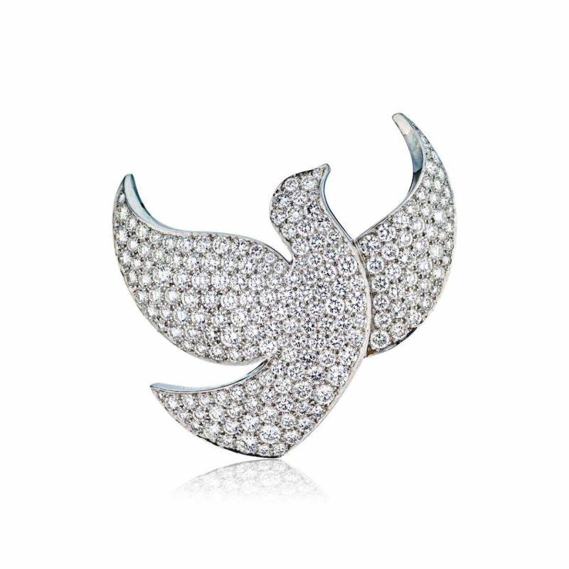 Cartier CARTIER 18K WHITE GOLD DIAMOND PAVE DOVE PIN BROOCH