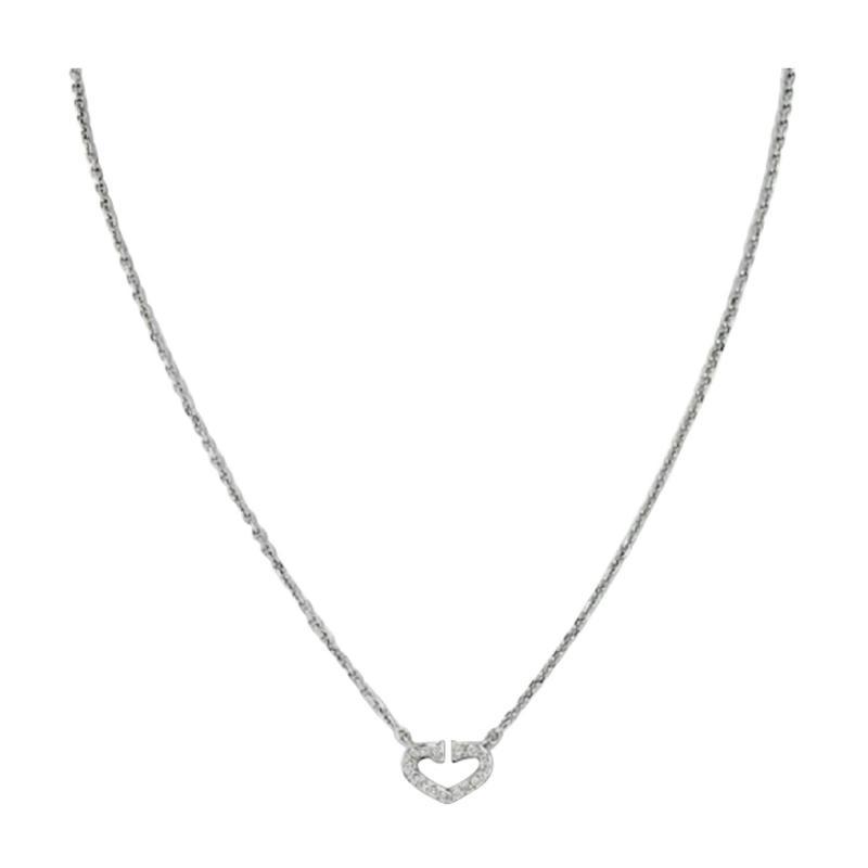 Cartier CARTIER 18K WHITE GOLD DOUBLE C DIAMOND PETITE HEART PENDANT