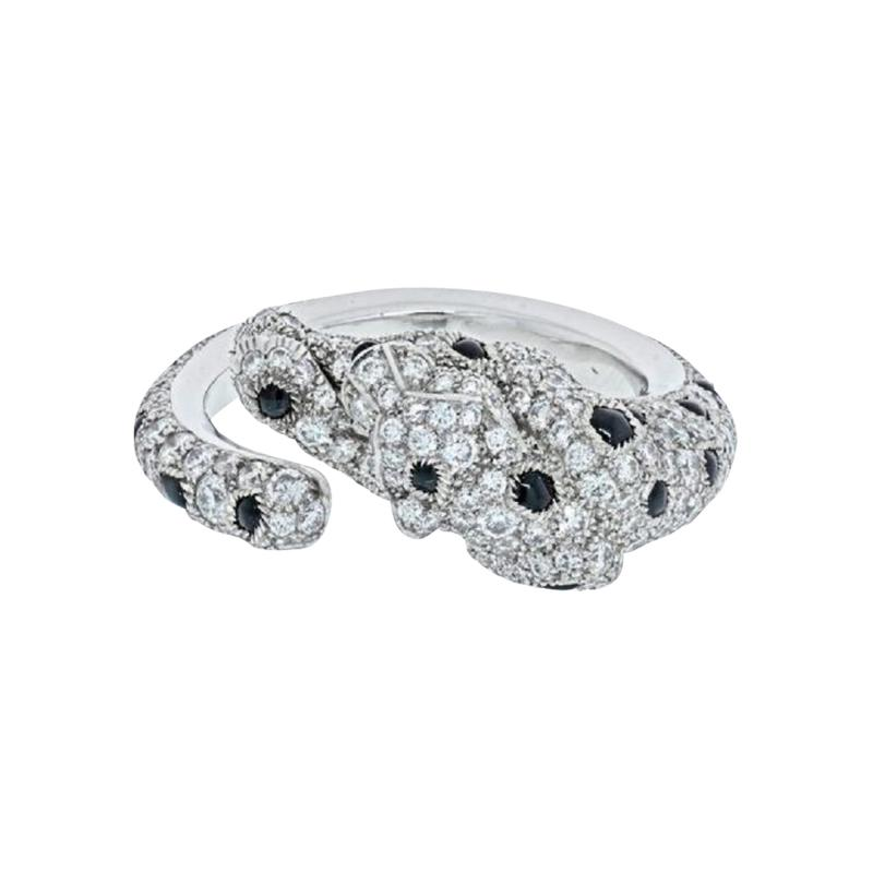 Cartier CARTIER 18K WHITE GOLD PANTHERE DIAMOND AND ONYX RING