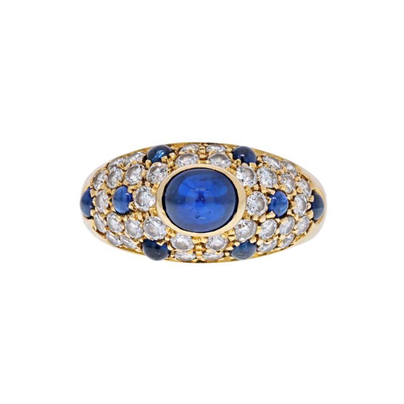 Cartier CARTIER 18K YELLOW GOLD CABOCHON SAPPHIRE DIAMOND RING
