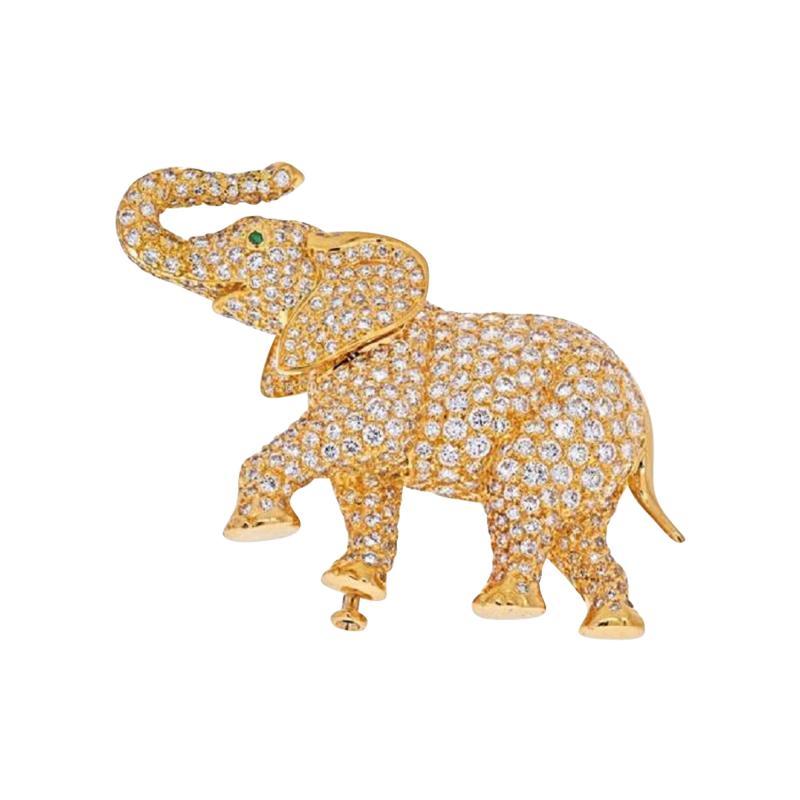 Cartier CARTIER 18K YELLOW GOLD DIAMOND ELEPHANT BROOCH