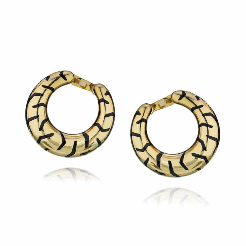Cartier CARTIER 18K YELLOW GOLD PANTHERE TIGER STRIPE CREOLE STYLE HOOP EARRINGS