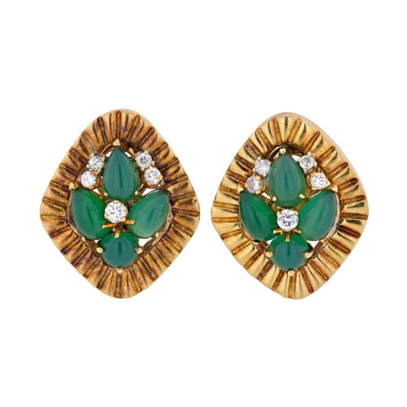 Cartier CARTIER 1960 18K YELLOW GOLD GREEN CABOCHON AND DIAMOND EARRINGS