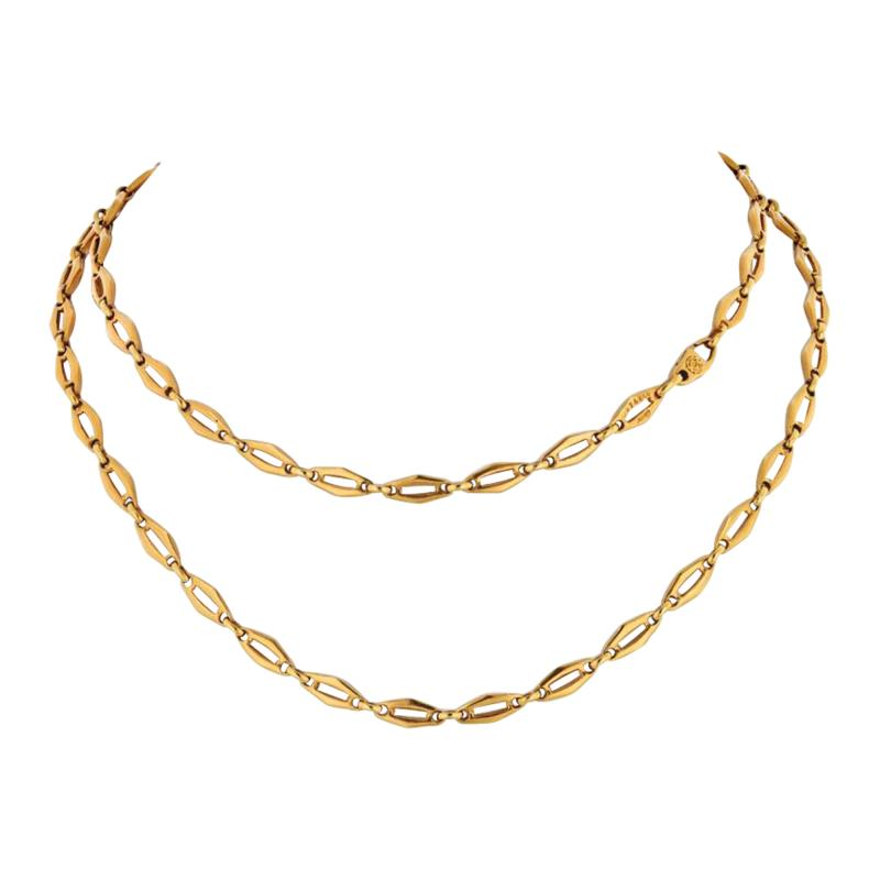 Cartier CARTIER 1970 18K YELLOW GOLD VINTAGE LOGO LONG CHAIN NECKLACE