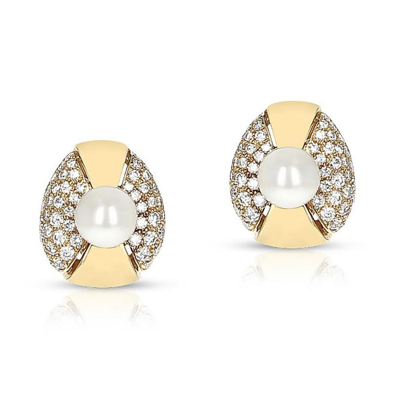 Cartier CARTIER 8MM PEARL AND DIAMOND OVAL SHAPE EARRINGS 18 KARAT YELLOW GOLD