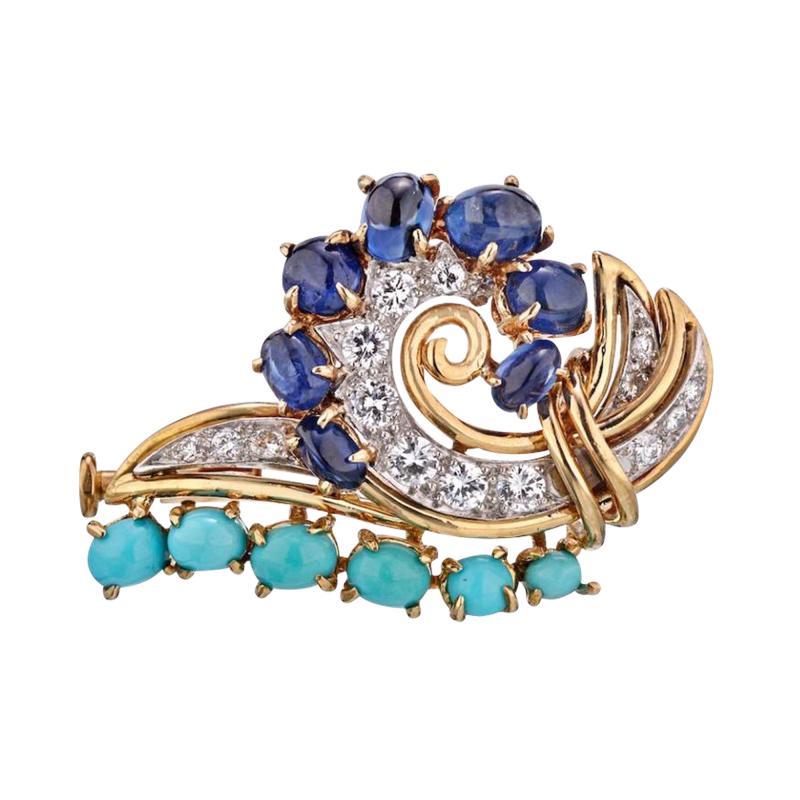 Cartier CARTIER CIRCA 1960S 18K YELLOW GOLD DIAMONDS SAPPHIRE TURQUOISE BROOCH